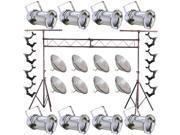 8 Silver PAR CAN 64 1000w PAR64 VNSP O-Clamp Truss