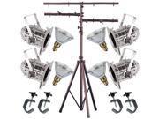4 Silver Short PAR CAN 38 120w PAR38 Spot C-Clamp Stand 4538