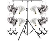 4 Silver Short PAR CAN 38 120w BR40 FL O-Clamp Stand