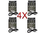 4 x MATRIX DMX 4Ch. Double Output Dimmer Pack System with 4x XLR DMX Cables