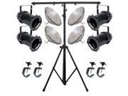4 Black PAR CAN 64 1000w PAR64 VNSP C-Clamp 9ft Stand