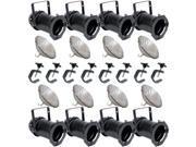 8 Black PAR CAN 64 1000w PAR64 NSP C-Clamps