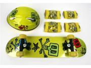 Kids Skateboard & Protect Gear Combo / Yellow Skull