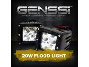 Genssi Duely Floodlight Flood Grille Bumper Bar Light 4x4 Off Road 20W (Pack of 2)