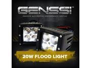Genssi Duely Floodlight Flood Grille Bumper Bar Light 4x4 Off Road 20W (Pack of 2)
