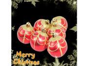 Set of 6 Red Glittery Gold Pattern Design Ornaments for Xmas Christmas Tree #7338#