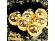 6 x Gold Christmas Decorations Baubles / Balls - 6cm - Glitter Set #7344#