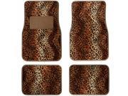 4 Pieces Tan Black  Leopard Print Front & Rear Carpet Floor Mat Set Universal