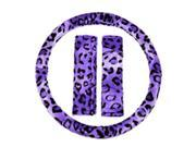 3PC Purple Leopard Animal Print Steering Wheel Cover & Seat Belt Shoulder Pads Universal Set