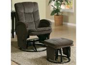 Chocolate Chenille Glider with Matching Ottoman by Coaster
