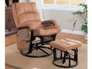 Leatherette Tan Glider Recliner / Ottoman by Coaster Furniture