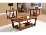 Babbie 3 Piece Occasional Table Set in Rich Brown Finish by Coaster Furniture