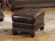 Top Gain Old World Leather Ottoman by Acme Furniture
