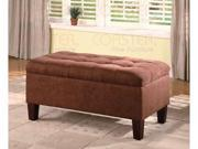 Ottoman in Chocolate Microfiber with Cappuccino wood by Coaster