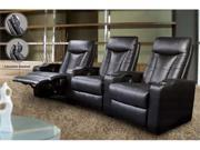 Pavillion Theater Seating - 3 Black Leather Chairs by Coaster Furniture