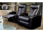 Pavillion Theater Seating - 2 Black Leather Chairs by Coaster Furniture