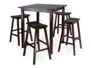 Parkland 5Pc Square High/Pub Table Set With 4 Saddle Seat Stools By Winsome Wood