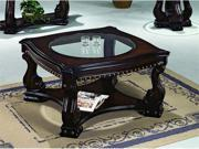 Madison Wood Coffee Table w/5mm Glass by Crown Mark