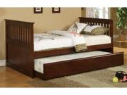 Twin Bed With Trundle in Walnut Finish by Poundex