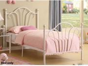 TWIN SIZE METAL BED W/ SLATS IN WHITE FINISH BY POUNDEX