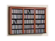 Cherry  Black Triple Wall Mounted Multimedia (DVD,CD,Games) Storage By Prepac
