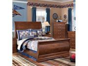 Sleigh Bed Full Size inRed /Brown Finish