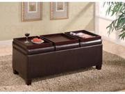 Brown Vinyl Storage Ottoman With Trays by Coaster Furniture