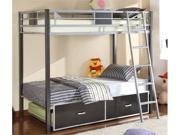 Twin/Full Bunk Bed in Silver  Gun Metal Finish by Furniture of America