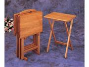 Oak Finish Tray Tables by Coaster Furniture
