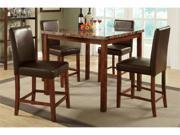 Luxurious marble countertop dining table + 4 casual counter height chairs By Poundex