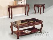 3 Piece Occasional Cherry Table Set with Glass by Acme Furniture