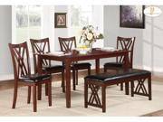 6Pc Dinette Set - Table, Chairs and Bench By Homelegance