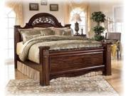 Dark Reddish Brown King Poster Bed - Signature Design by Ashley Furniture
