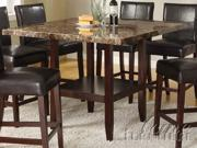 Idris Counter Height Table w/ Brown Marble Top in Espresso by Acme Furniture