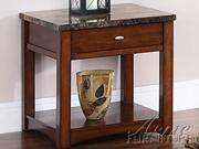 Jas End Table w/ Faux Marble Top in Cherry Finish by Acme Furniture