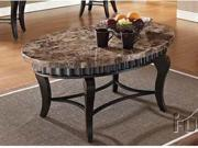 Galiana Oval Coffee Table w/ Marble Top in Brown by Acme Furniture