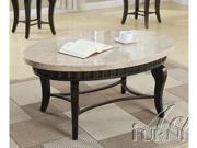 Lorencia Oval Coffee Table w/ White Marble Top in Brown by Acme Furniture