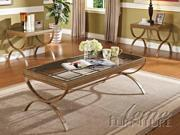 Quintin 3pc Coffee/End Table Set in Gold by Acme Furniture