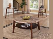 Nadav 3pc Round Coffee/End Table Set w/ Faux Marble Top by Acme Furniture