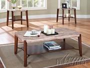 Nadav 3pc Coffee/End Table Set w/ Faux Marble Top by Acme Furniture