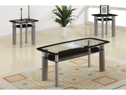 Ultra Modern 3 Piece Coffee Table Set w/Glass Table Top and  by Poundex