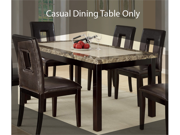 Casual Dining Table w/ Faux Marble Top and Dark Brown Frame by Poundex