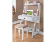 Writing Desk and Stool w/White Color Finish Pine Wood by Poundex