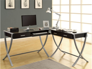Cappuccino Hollow-Core / Silver Metal 3Pcs Corner Desk by Monarch