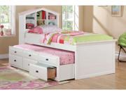Twin Bed with Trundle in White Finish by Poundex
