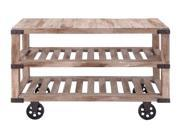 Rustic Console Cart With Portable Wheels by Benzara