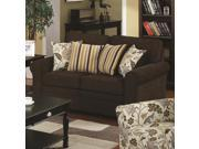 Rosalie Stationary Loveseat with Accent Pillows in Espresso by Coaster