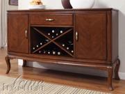 Kingston Server w/ Glass Top in Brown Cherry by Acme Furniture