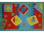 Jade Reynolds Beach Blanket, Multi Colored 5 Ft. 3 In. x 7 Ft.  6 In. Kids Rug