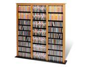 Oak  Black Triple Width Barrister Storage Tower for Multimedia (DVD,CD,Games) By Prepac